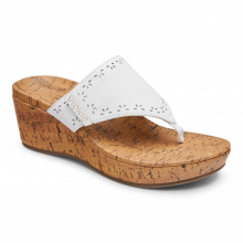 ATLANTIC ANITRA LEATHER TOE POST WEDGE