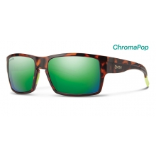 Outlier XL Matte Tortoise Neon ChromaPop Sun Green Mirror by Smith Optics