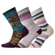 Women's Everyday Purple Pattern Crew Socks Trio Socks