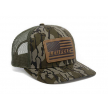 #112 Bottomland Leather Flag Trucket Hat Camo/Green OS