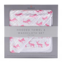 Pink Deer Hooded Towel and Washcloth Set by Newcastle Classics in Dublin Ca