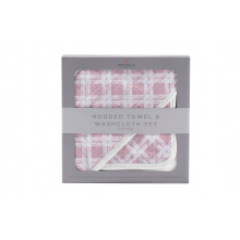 Pink Plaid Hooded Towel and Washcloth Set by Newcastle Classics