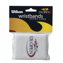 US Open Extra Long White Wristbands, 2 Pack by Wilson