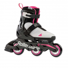 Microblade Free 3WD Kid's Size Adjustable Inline Skate, Grey and Candy Pink, High Performance Inline Skates by Rollerblade
