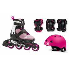 Microblade Cube Kids Adjustable Fitness Inline Skate, Helmet and 3 Pack Protective Gear, Pink/White by Rollerblade in Squamish BC