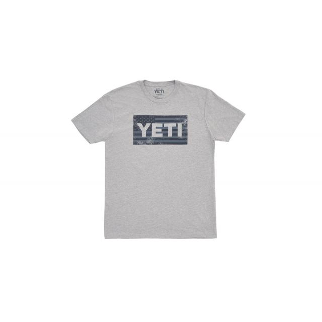 YETI - American Flag Short Sleeve T-Shirt - Dark Heather Gray - S