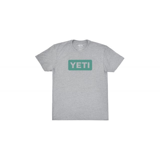 YETI - Women's Badge Logo Short Sleeve T-Shirt - Heather Gray / Aquifer Blue - XS