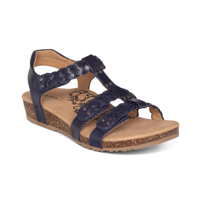 Aetrex - Women's Reese Braided Gladiator Navy in Marion IA