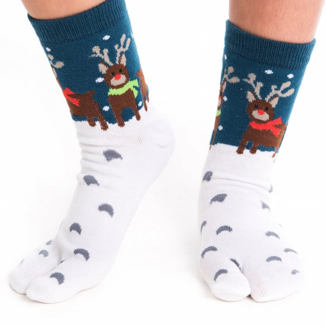 V-Toe Socks - Reindeer Pattern - Crew