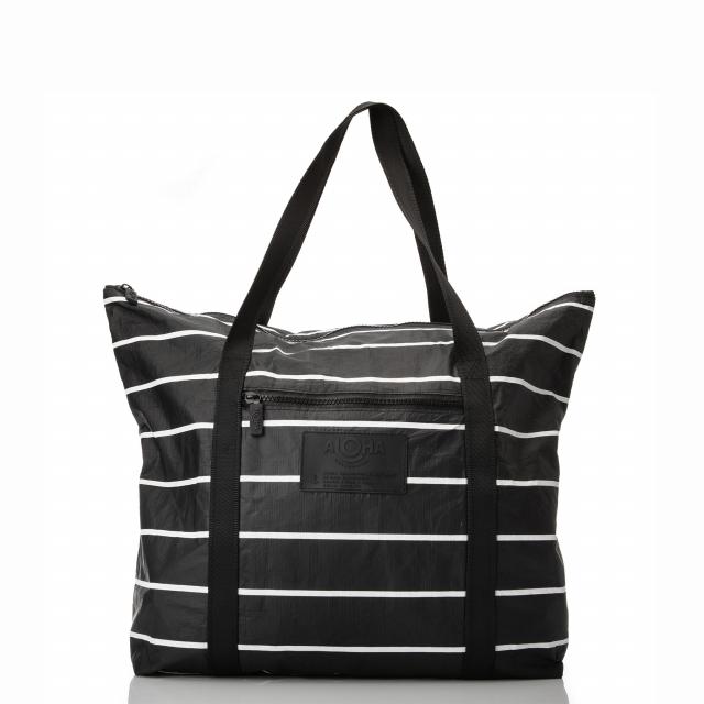 ALOHA Collection - Pinstripe Zipper Tote