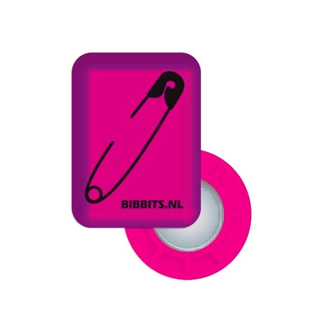 BibBits - Magnetic Race Bib Holders-Pink, Safety Pin