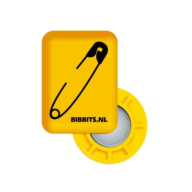BibBits - Magnetic Race Bib Holders-Yellow, Safety Pin