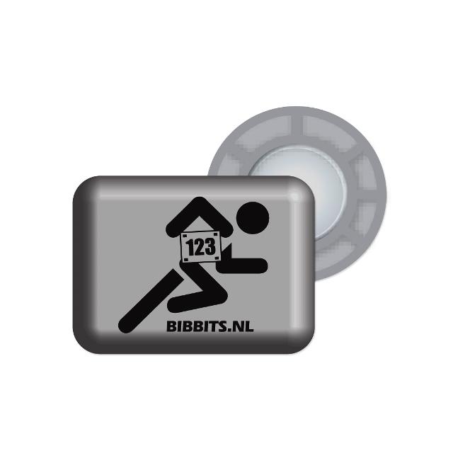 BibBits - Magnetic Race Bib Holders-Silver/Grey,Runner