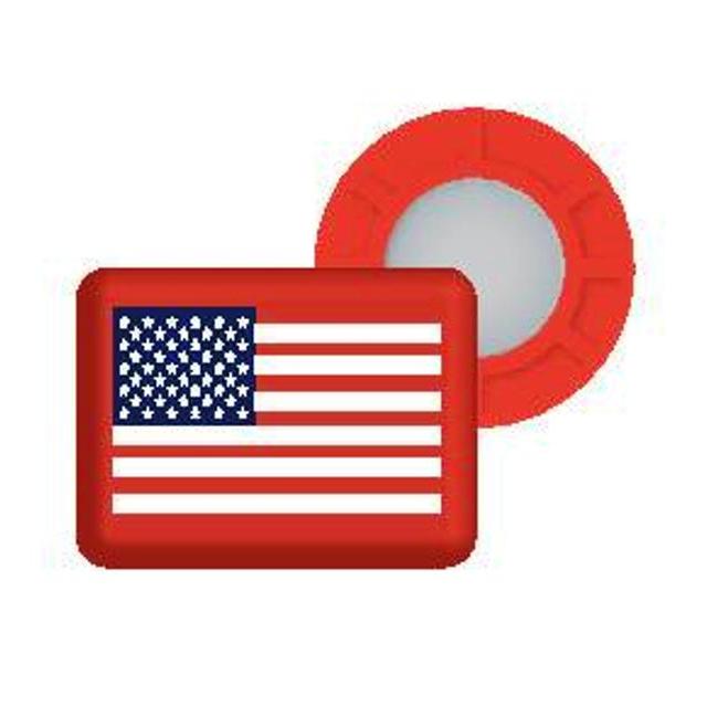 BibBits - Magnetic Race Bib Holders-USA Flag, Red