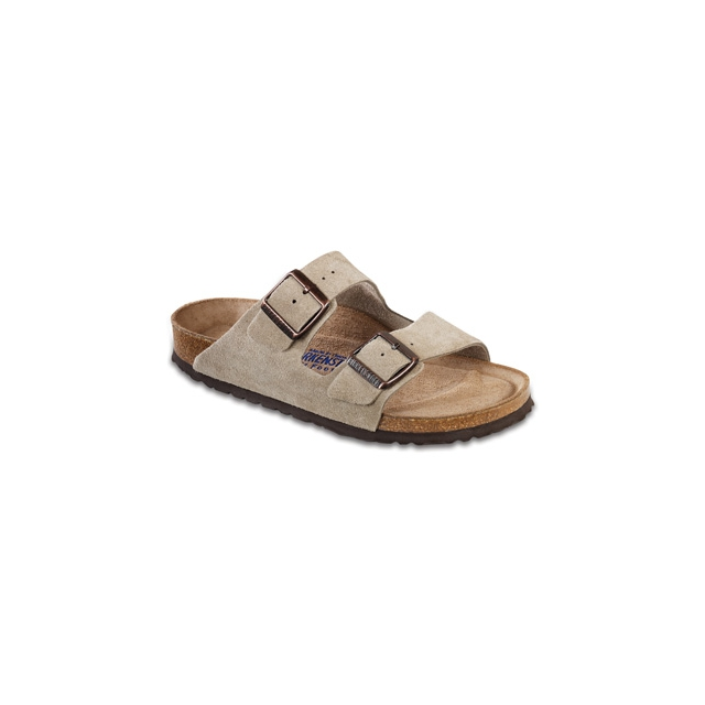 Birkenstock - Arizona Taupe Suede Soft Footbed