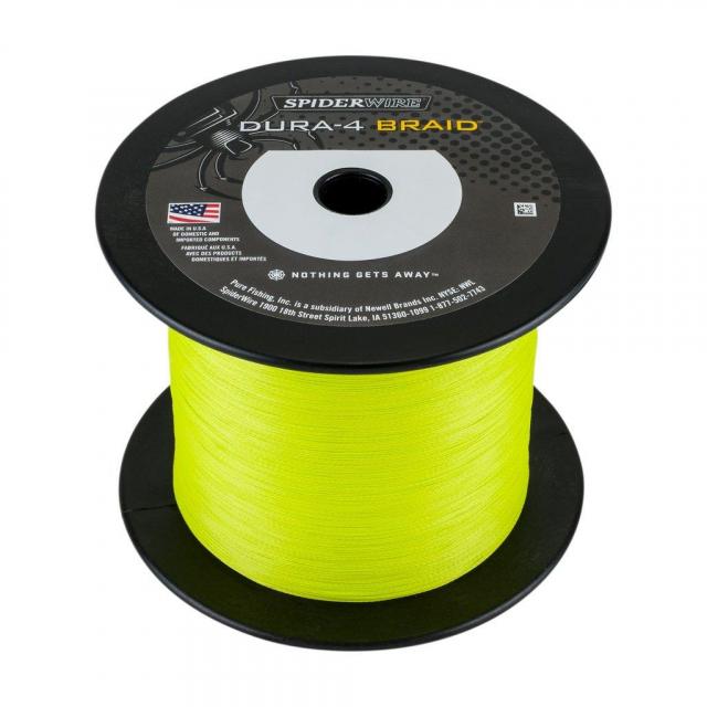 SpiderWire - Dura4 Braid   1800m   9.1kg   20lb   Model #ESD4Y-DURA4 1800M 0.10MM/9.1KG-20LB YEL