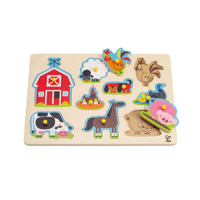 Hape - Farm Animals Peg Puzzle