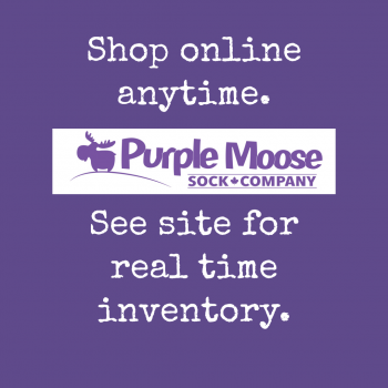 Purple Moose Sock Company Online only currently See site for real time inventory