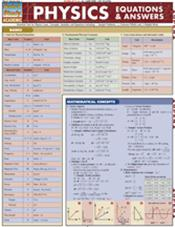 Physics Equations and Answers Laminated Reference Chart