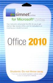 SimNet for Microsoft Office 2010 Suite Registration Card. Access Code