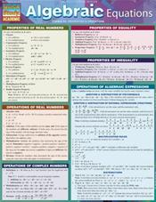 Algebraic Equations Laminated Reference Chart