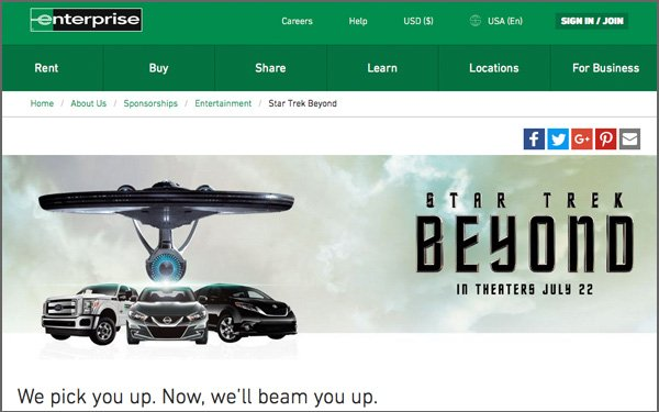 Enterprise Rent-A-Car Teams With 'Star Trek' 06/16/2016