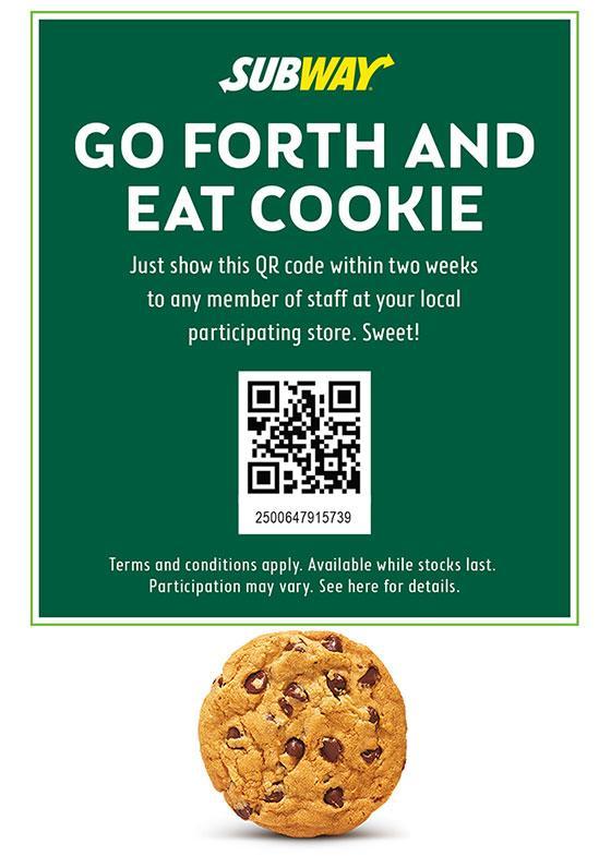 subway free cookie code house cookies