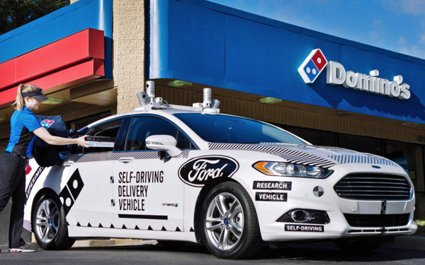 Dominou0027s Pizza and Ford Motor Co. are partnering to try using a self-driving vehicle in pizza delivery. & Dominou0027s Ford Test Pizza Delivery Using Self-Driving Vehicle 08 ... markmcfarlin.com