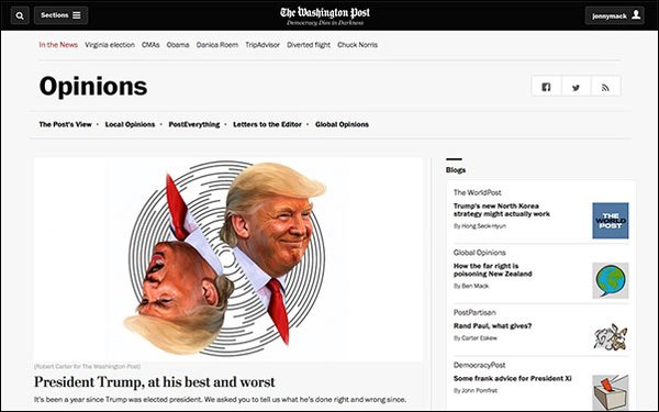 the washington post is rolling out a new module today to recommend an opinion piece with a different point of view from what a user is currently reading