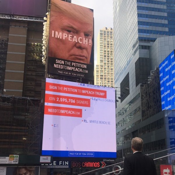 Tom Steyer Takes Impeachment Campaign to Times Square