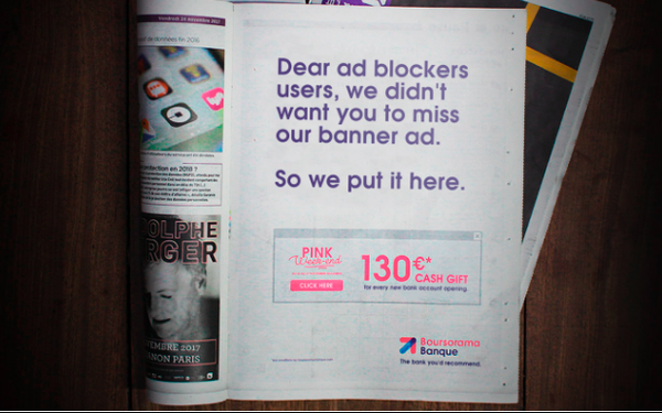 Ad Blocking Comes Full Circle: Online Bank Uses Newspaper