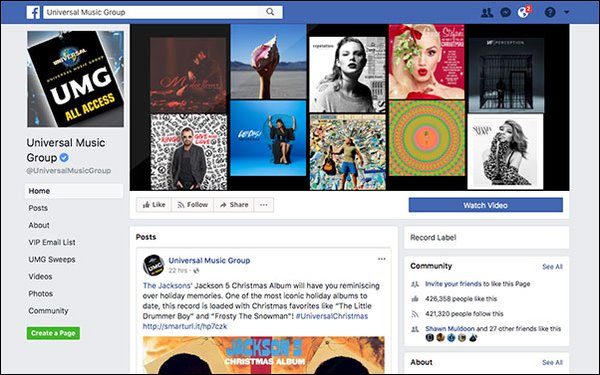 Universal Music, Facebook Sign Licensing Deal 12/22/2017