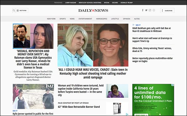 New York Daily News' Opts For Pay Wall 01/26/2018