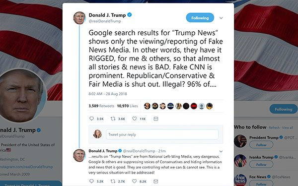 Trump Attacks Google News Results, Search Experts Debunk