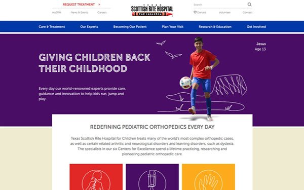 eef43f07d The Richards Group first created a brand campaign for Scottish Rite  Hospital for Children before creating a website redesign for them in August  of 2017.