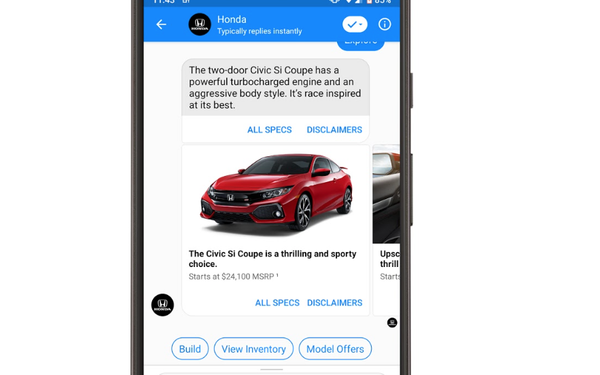 Honda Launches Facebook Messenger Bot