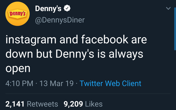 Denny's Capitalizes On Facebook Outage