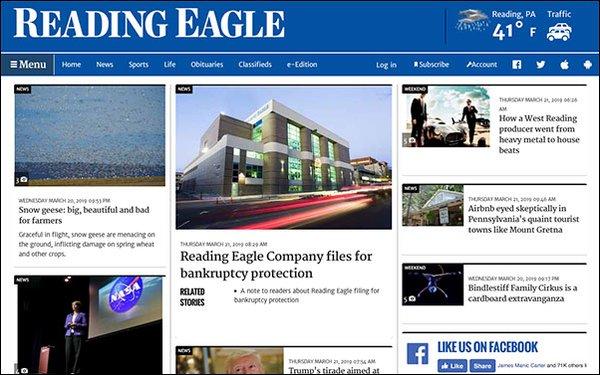 Pennsylvania Company 'Reading Eagle' Files For Bankruptcy