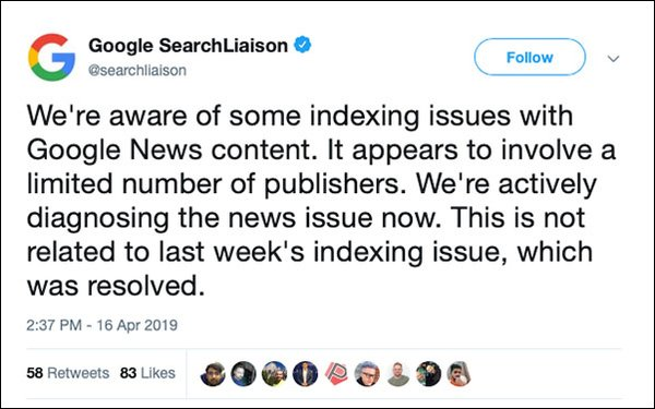 Google News Tackles Indexing Bug, Affects Some Publishers