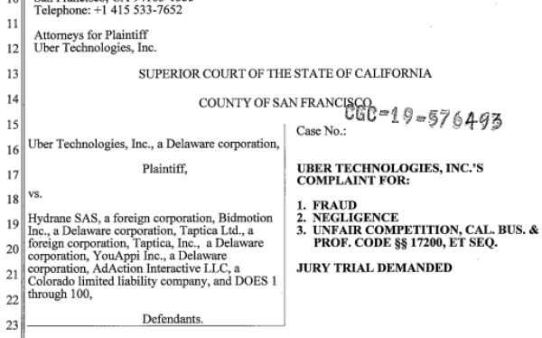 Uber Refiles Suit, Alleges 100+ Ad Nets/Publishers With
