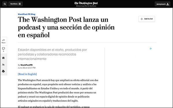 The Washington Post' To Launch Podcast, Opinion Section In