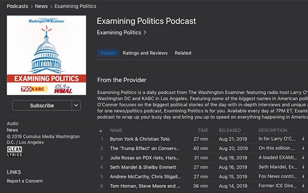 Washington Examiner' Launches Daily Political Podcast With