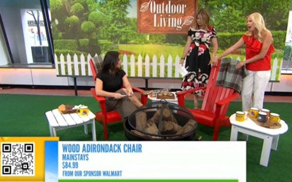 Today Show on NBC showing a Shoppable ad at bottom offering an adirondack chair on the set for sale