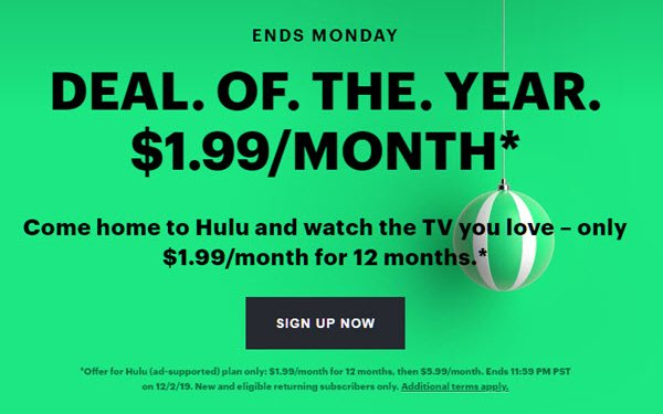 Hulu Offers $1.99 Deal From Black Friday Through Cyber Monday 11/29/2019