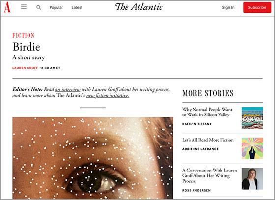 'The Atlantic' Launches Fiction Section