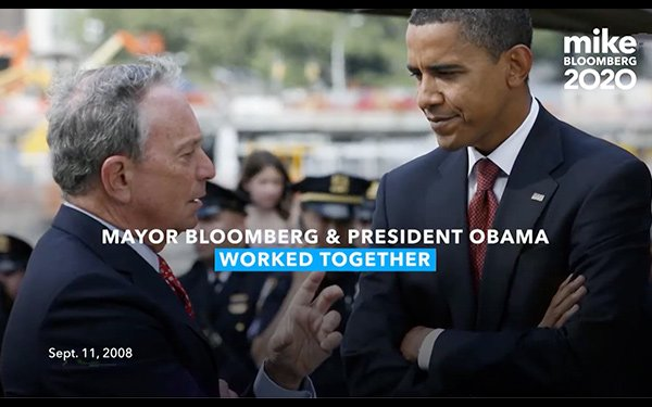 Bloomberg's TV Spots Promote Competence, Obama Association