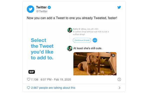 Twitter Introduces Continue Thread Button