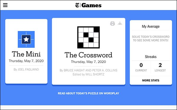 New York Times Rebrands Crossword To Games 05 08 2020