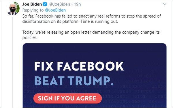 Biden Demands Facebook Ban Election Misinformation Including False Ads 06 12 2020