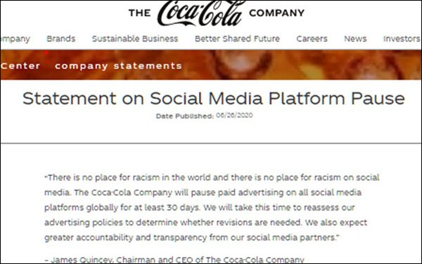 Coca-Cola, Other Big Brands Pause Social Ads, Hours After Facebook Makes Policy Changes
